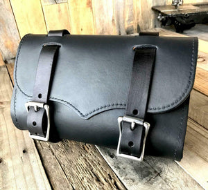 Black Leather Tool Roll Bag Saddle Harley Chopper Bobber Motorcycle Sportster - Mother Road Customs