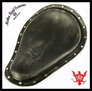 Spring Solo Seat Harley Sportster Chopper 11x14 BlkDist Leather Stainless Rivets