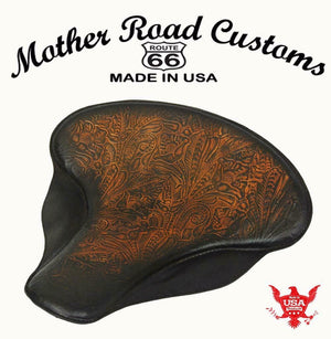 "Spring Solo Tractor Seat Harley Touring Indian Chief 17x16"" Antique Brown Tooled - Mother Road Customs"