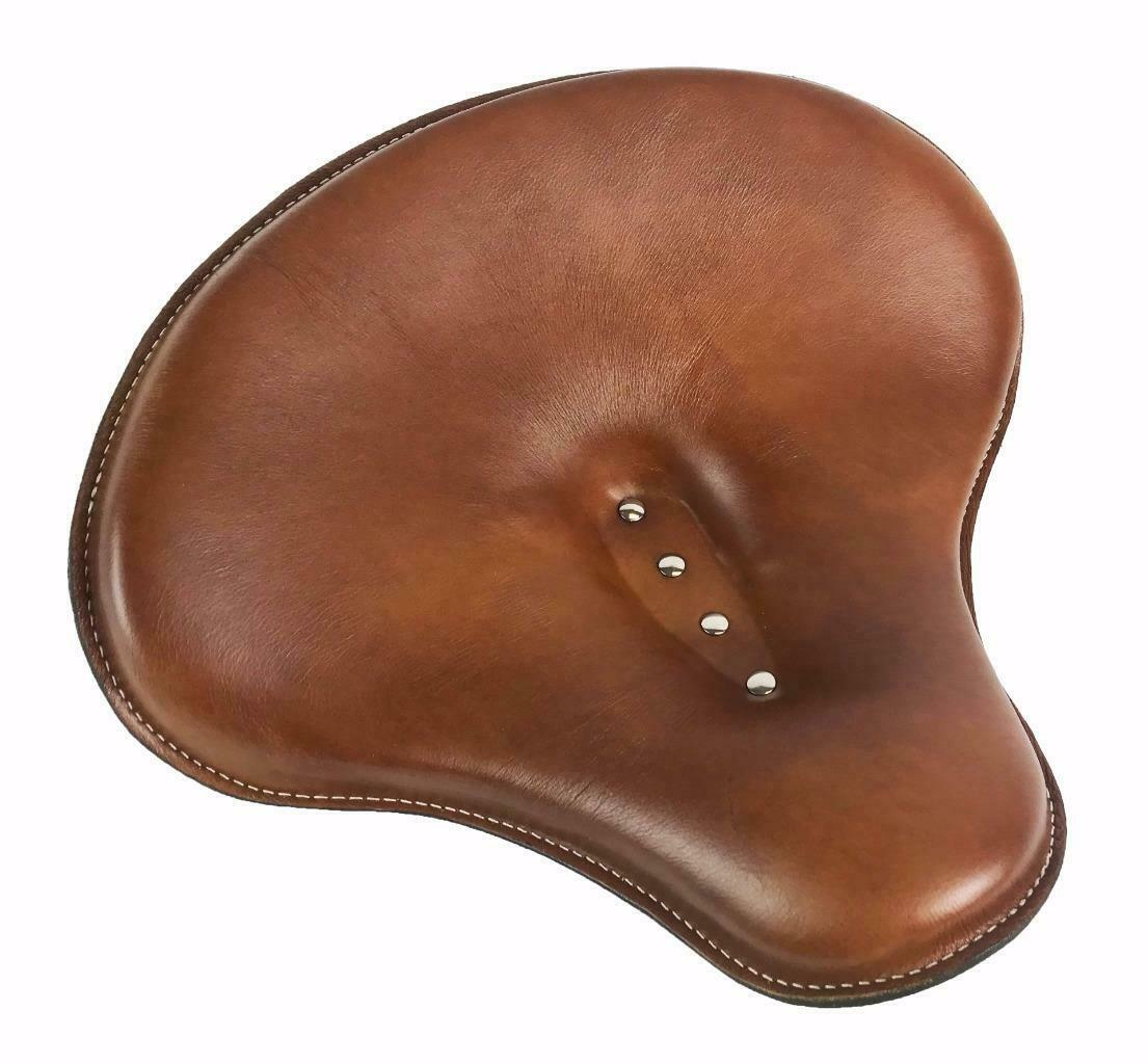 "Spring Solo Tractor Seat 15x14"" Desert Tan Leather Harley Sportster Indian Scout - Mother Road Customs"