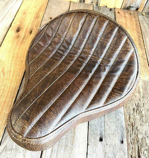 "Seat Chopper Harley Softail Bobber Dyna 12x13"" Brown Dist Bates Style Tuck Roll"