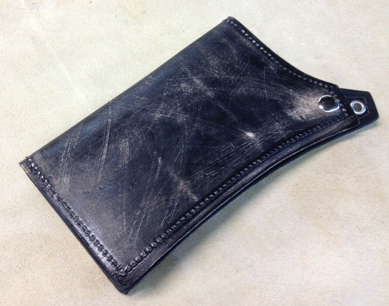 Wallet Mens Womens Black Distressed Leather Match Seat Sportster Chopper Harley - Mother Road Customs