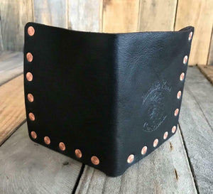 """Riveter"" Men's Black Leather Bifold Wallet With Solid Copper Rivets - Mother Road Customs"