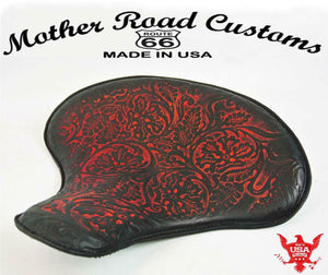 "15x14"" Red Oak  Leather Spring Solo Tractor Seat Chopper Bobber Harley Sportster - Mother Road Customs"