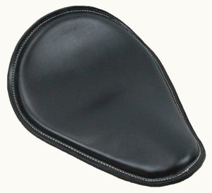 "Spring Seat Harley Sportster 11x14"" Smooth Black Leather White Stitching"