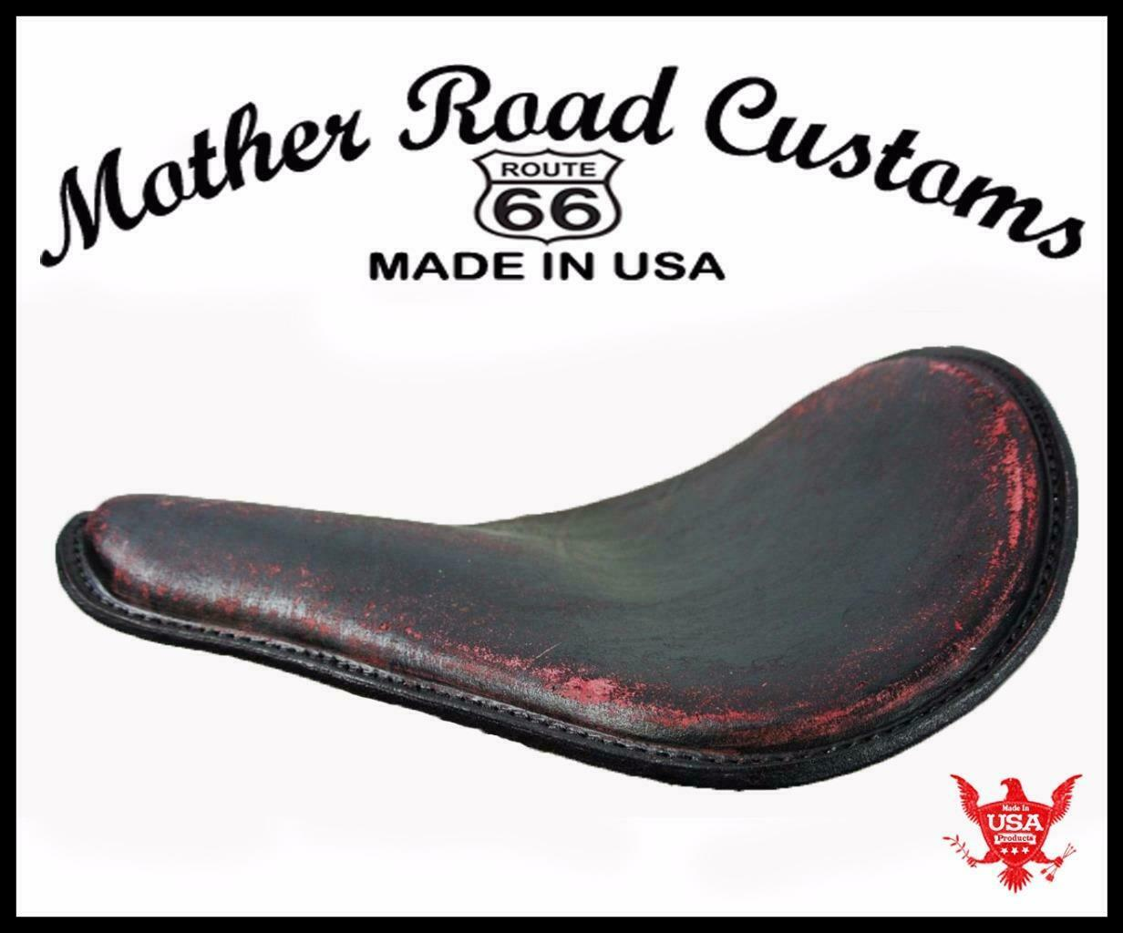 SPRING SOLO SEAT CHOPPER BOBBER HARLEY SPORTSTER NIGHTSTE USA 12x13 BLK RED DIS