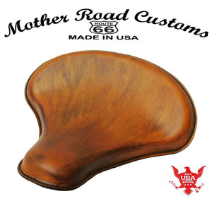 "Spring Solo Tractor Seat Chopper Bobber Harley Sportster 15x14"" Ant Tan Leather - Mother Road Customs"