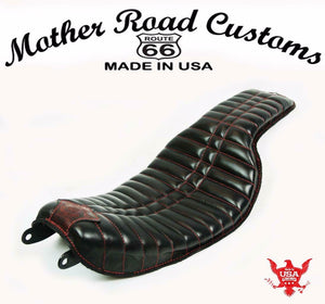 2006-2017 Harley Dyna Seat On The Frame Black Red Stitching Fits All Models MRC - Mother Road Customs
