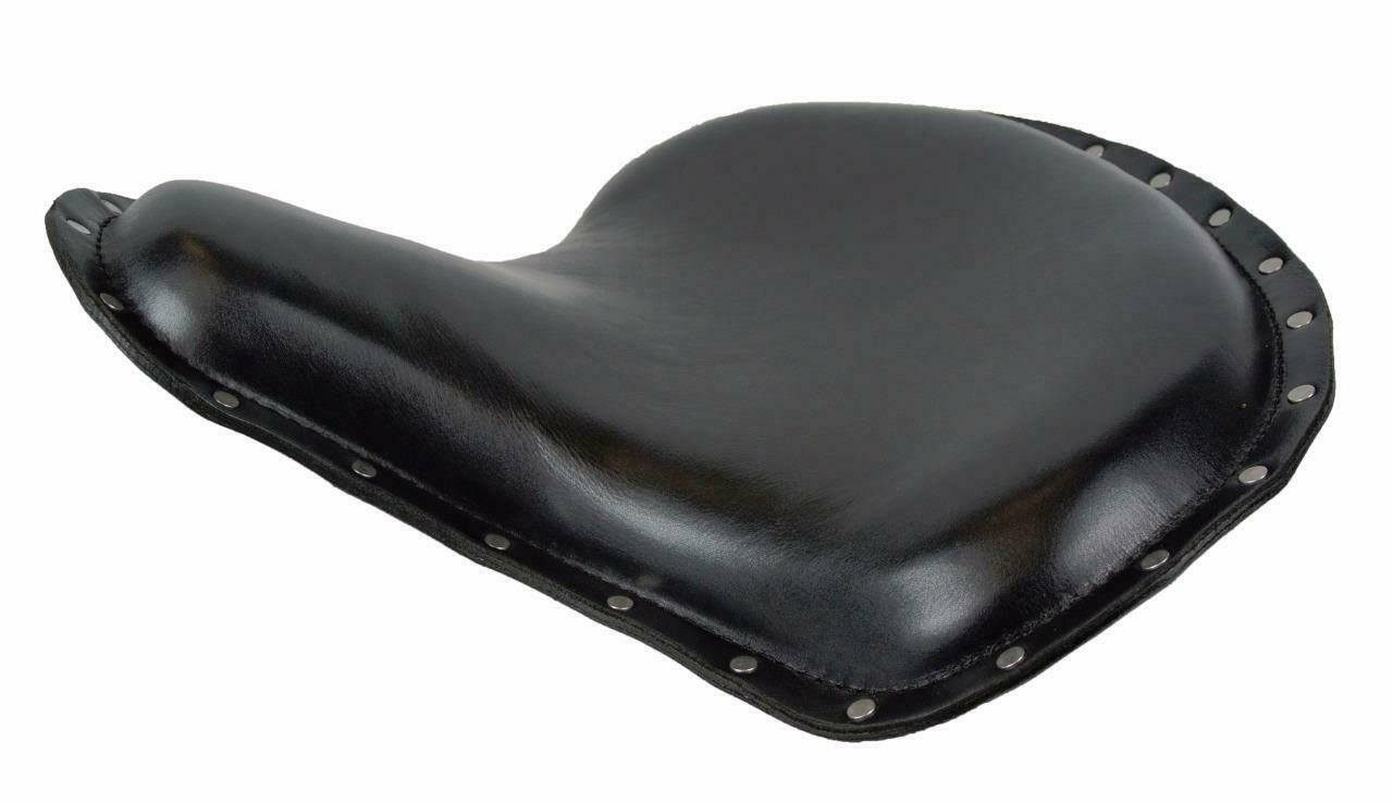 "Spring Tractor Seat Harley Sportster Indian Scout 15x14"" black S Rivets Leather - Mother Road Customs"