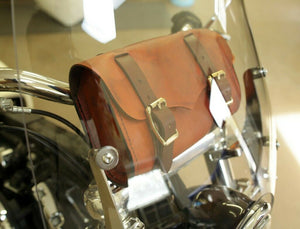 Tool Roll Saddle Bag Chopper Bobber Harley Sportster Nightster Dyna Brn Leather - Mother Road Customs