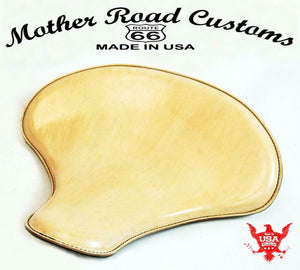 "15x14"" Natural Leather Spring Solo Tractor Seat Chopper Bobber Harley Sportster - Mother Road Customs"