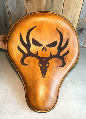 "Seat Chopper Sportster Harley 12x13"" Deer Skull Engraved Tooled Spring Leather - Mother Road Customs"