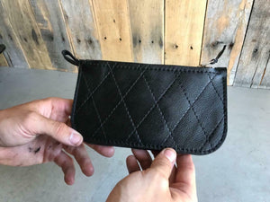 Men & Women Black Tuck Roll Leather Wallet Match Seat Sportster Chopper Harley - Mother Road Customs