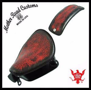 2010-2021 Sportster Harley Seat Ant Red Snake All Models Leather pad Kit USA bc