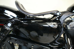 "2010-2020 Harley Sportster Seat Black Leather 12x15"" Long Nose No Spring Kit - Mother Road Customs"