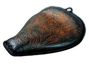 2004-2006 Harley Sportster Seat On The Frame Ant Brn Tooled  Leather All Models - Mother Road Customs