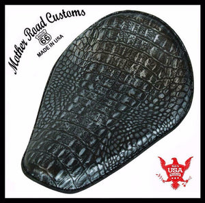 11x14 Black Silver Alligator Spring Seat Chopper Bobber Harley Sportster Honda - Mother Road Customs