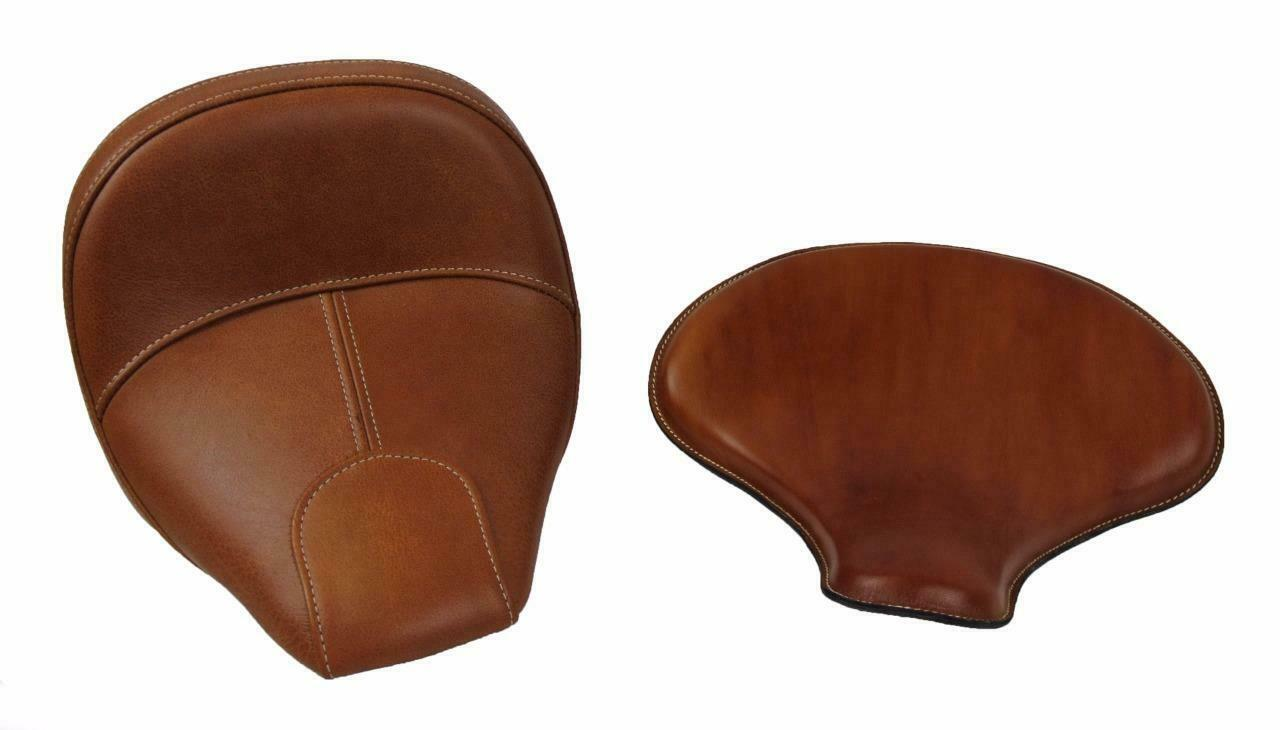 "Spring Solo Tractor Seat Harley Sportster Indian Scou 15x14"" Desert Tan Leather - Mother Road Customs"