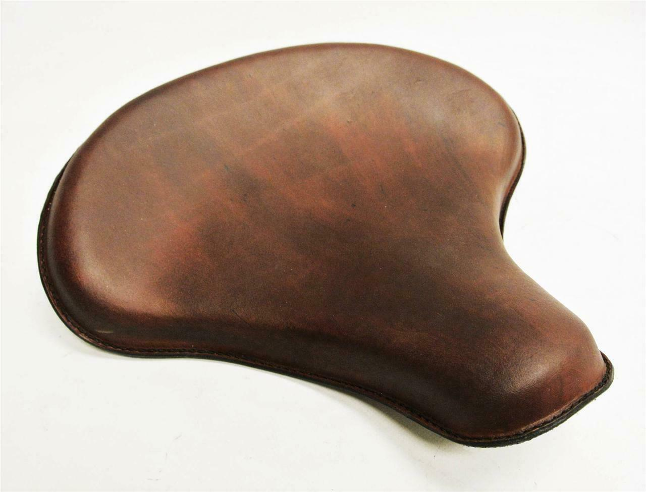 "Spring Solo Tractor Seat Chopper Bobber Harley Sportster 15x14"" Brown Leather - Mother Road Customs"