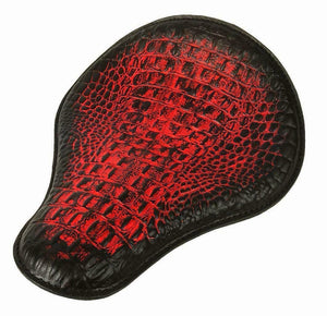 "Spring Solo Seat Chopper Harley Sportster 13x15"" Antique Red Alligator Dyna MRC"