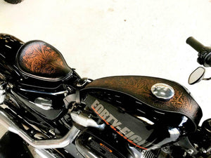 Tank Bib 2004-2020 Harley Sportster Antique Brown Tooled Leather Fits All Models - Mother Road Customs