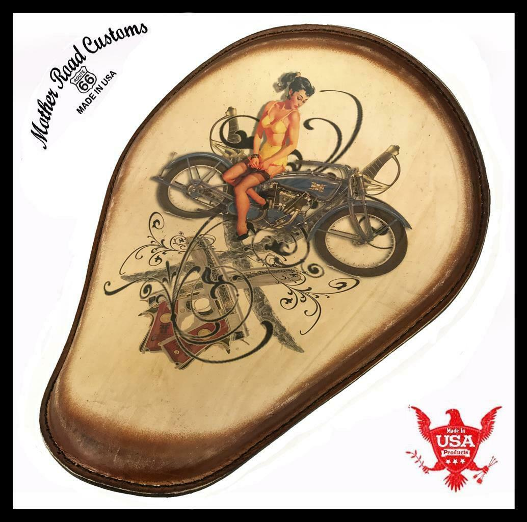 Spring Seat Leather Harley Sportster Chopper Bobber Honda 11x14 Guns Swo Tattoo