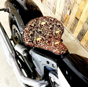 Spring Seat Chopper Sportster Harley 15x14 Scroll Skull Engraved Tooled Leather