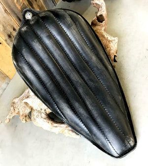 1982-2003 Harley Sportster Solo Seat Black Dist Leather On The Frame Made in USA - Mother Road Customs