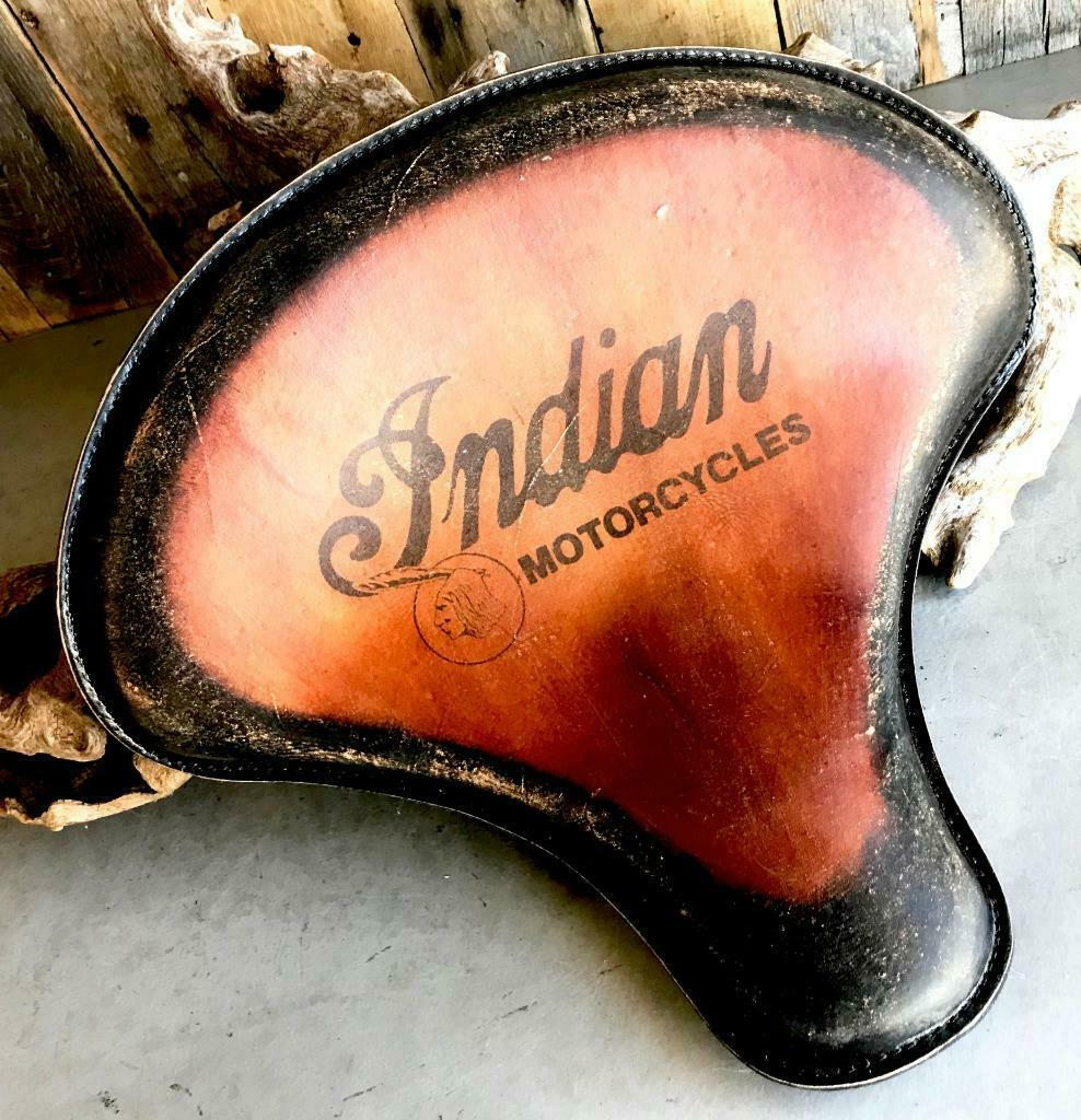 "Spring Solo Tractor Seat  Bobber 15x14"" Indian Antique Brown Distressed Tattoo"
