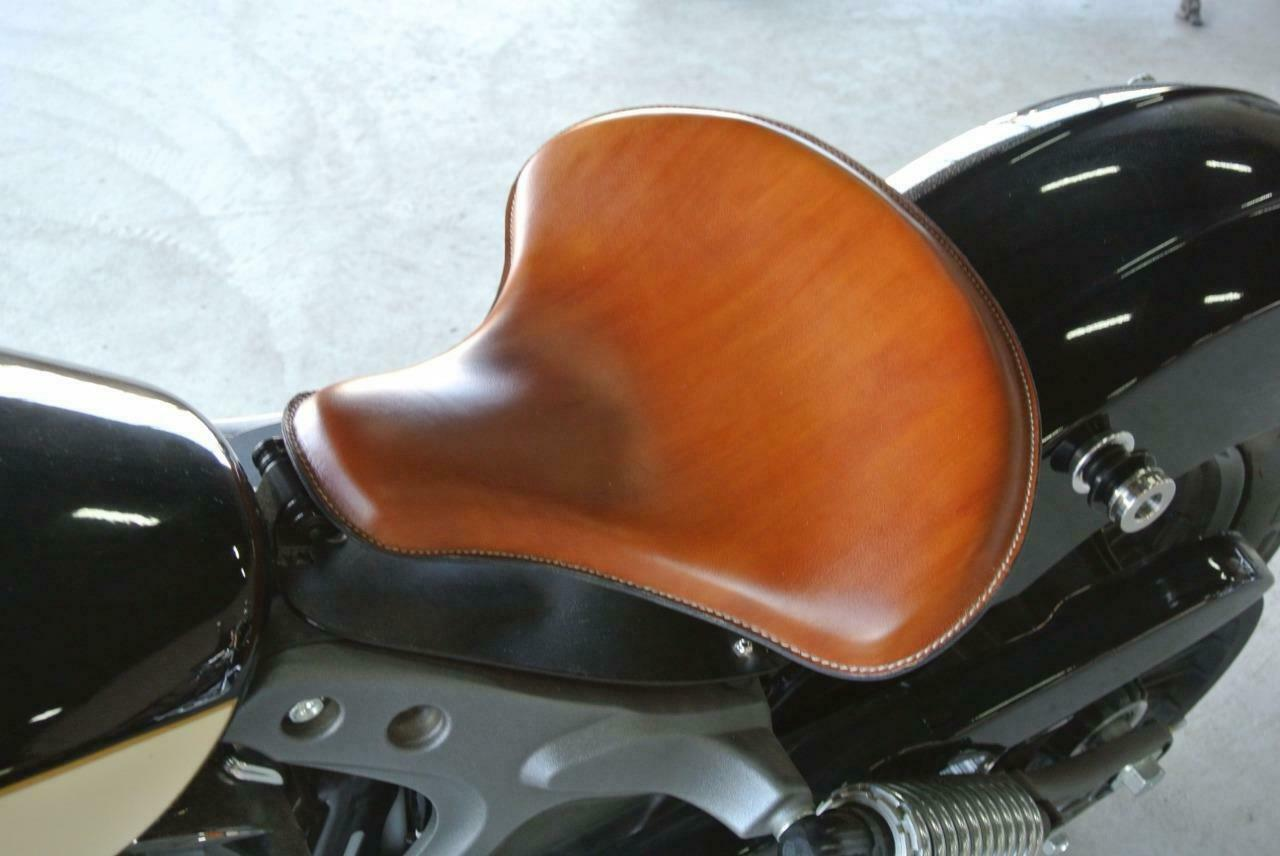 "Spring Solo Tractor Seat Harley Sportster Indian Scout 15x14"" Desert Tan Leather - Mother Road Customs"