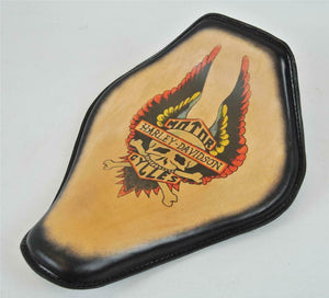 Spring Solo Seat Chopper Harley Sportster Wing Tattoo Snub Nose Blk Frame Honda