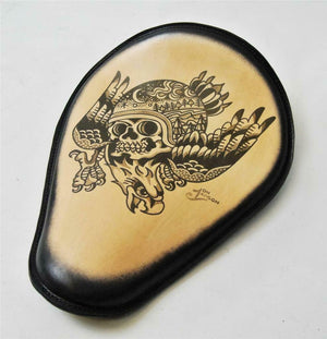 Spring Solo Seat Chopper Harley Sportster 11x14 Eagle Skull Tattoo Leather Blk