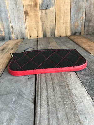 Men & Women Black Red Diamond Pleated Leather Wallet Seat Chopper Harley - Mother Road Customs