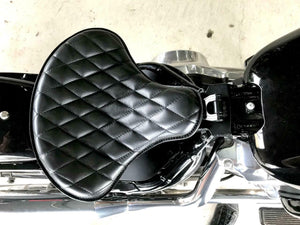 "Spring Seat Chopper Sporster Softai Harley Bobber 15x14"" Black Diamond Stitched"