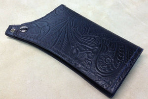Mens Womens Black Tooled Leather Wallet Match Seat Sportster Chopper Harley - Mother Road Customs