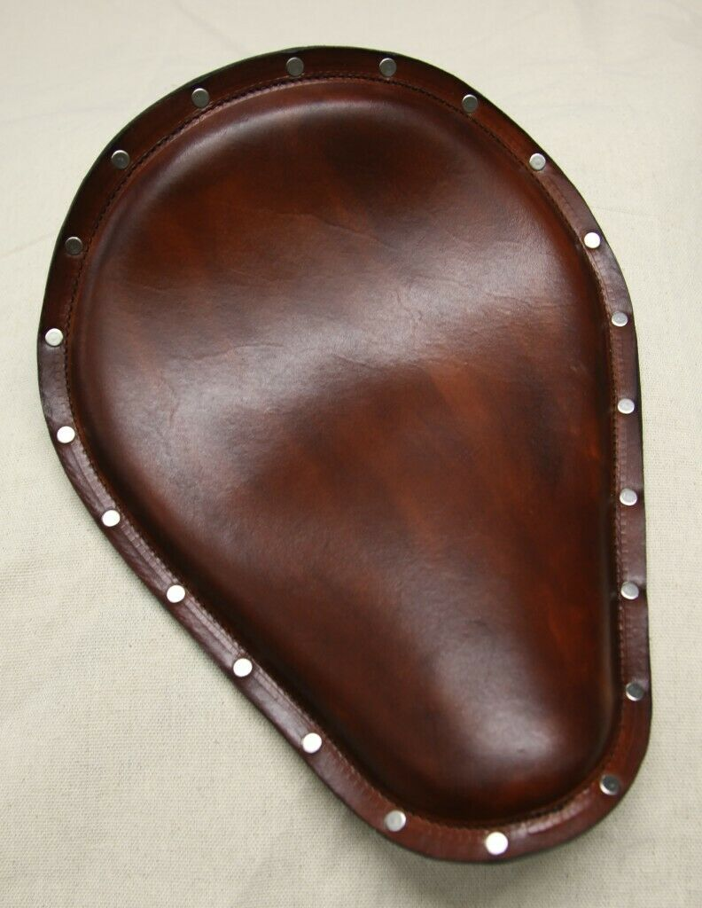 "Seat Harley Sportster Chopper Nightster 12x15"" Brown Leather Stainless Rivets - Mother Road Customs"