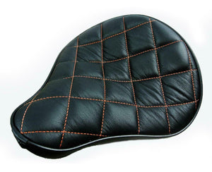 Seat Spring Solo Sportster Harley Chopper Black Leather Orange Stictched 11x13 - Mother Road Customs