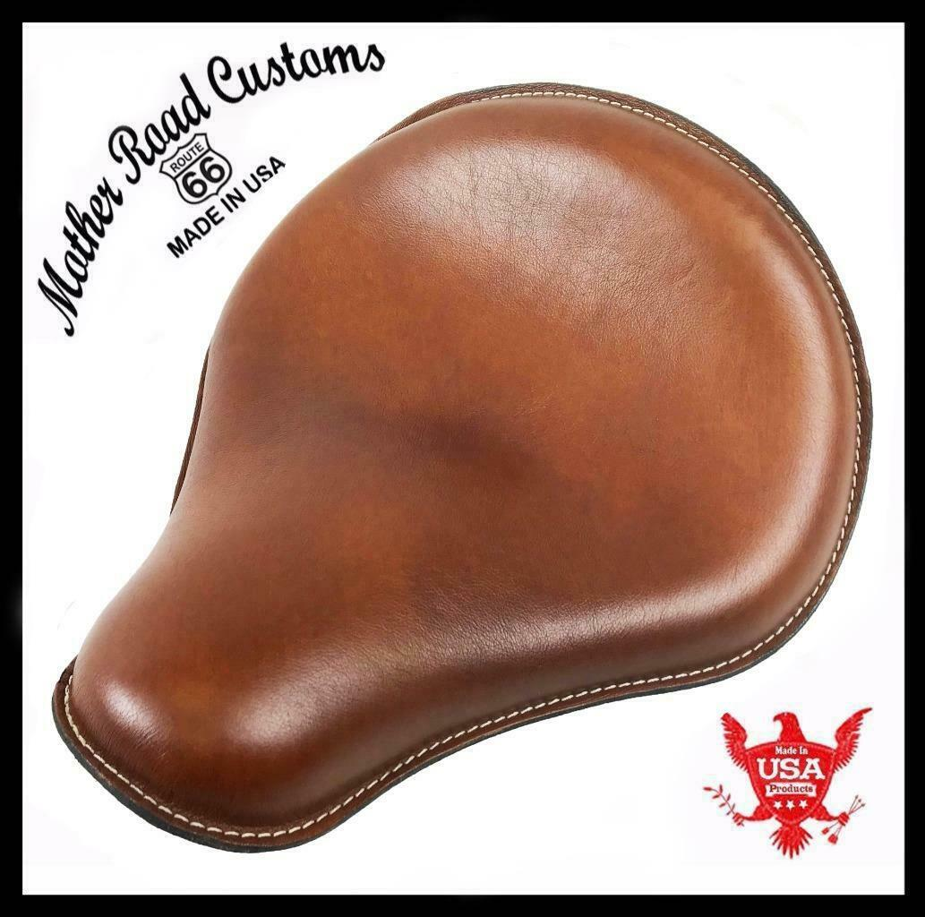 "12x13"" Spring Seat Chopper Harley Indian Scout Sportster Bobber Tan Leather - Mother Road Customs"