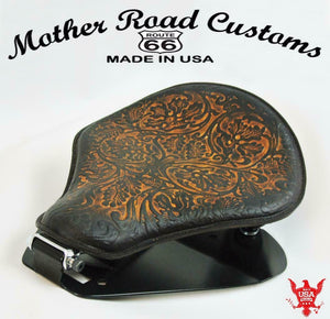1998-2020 Yamaha V Star 650 Seat Spring Brown Oak Leaf Leather Mounting Kit bc - Mother Road Customs