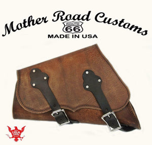 Sportster Saddle Bag Harley 2004-2020 Brown Dist Leather Chopper Made In USA MRC - Mother Road Customs