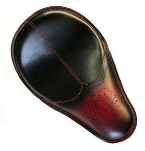 11x16 Antique Red Wingtip Leather Spring Solo Seat Chopper Bobber Harley Softail - Mother Road Customs