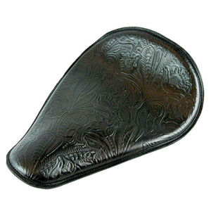 11x16 Black Tooled Leather Spring Solo Seat Chopper Bobber Harley Softail USA - Mother Road Customs