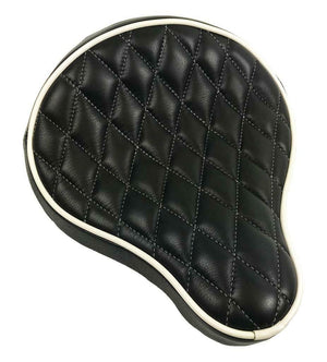 "Spring Seat Chopper Sporster Harley Black White Diamond Stitched 12x13"" Leather"