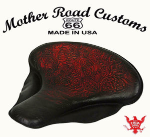 "Spring Solo Tractor Seat Harley Touring Indian Chief 17x16"" Ant Red Oak Leaf MRC - Mother Road Customs"