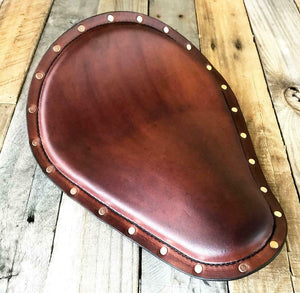 Seat Chopper Bobber Harley Sportster Brown Distressed Leather Copper Rivets - Mother Road Customs