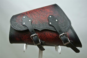 1982-2020 Saddle Bag Sportster Harley Ant Red Tooled Embossed Fits All Models - Mother Road Customs