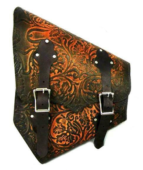 2000-2020 Harley Softail Saddle Bag Chopper Antique Brown Oak Leaf Leather MRC - Mother Road Customs