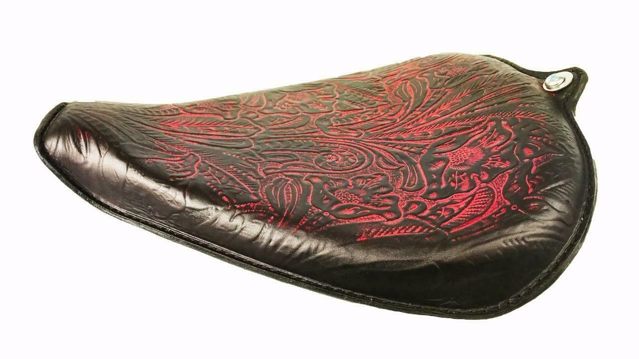 2010-2020 Sportster Harley On The Frame Seat Ant Red Tooled Leather All Models