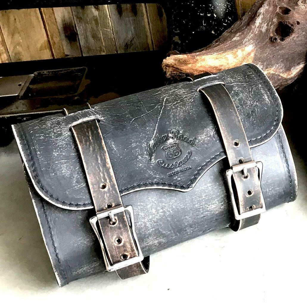 Tool Roll Bag Saddle Harley Chopper Bobber Motorcycle Black Distressed Leather - Mother Road Customs