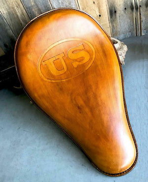 11x16 Gel Tan US Tooled Leather Spring Solo Seat  Chopper Bobber Harley Softail - Mother Road Customs